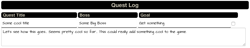 Snapshot of the Quest Log with a handwriting font selected