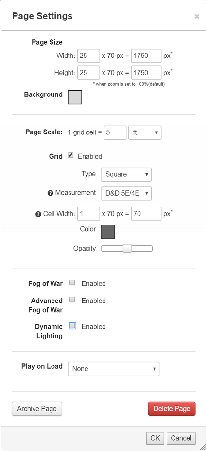 Page Settings - Roll20 Wiki