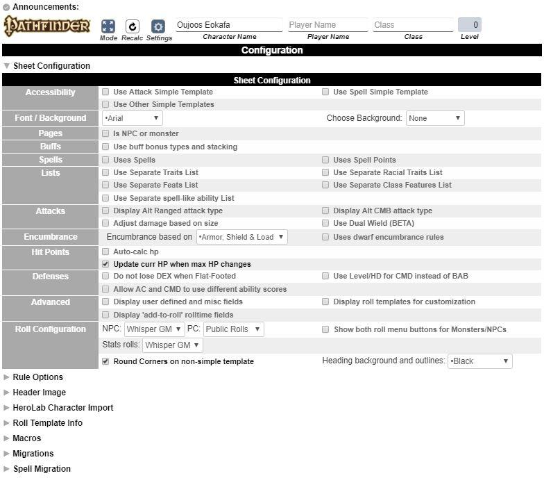 Pathfinder Community Sheet - Roll20 Wiki