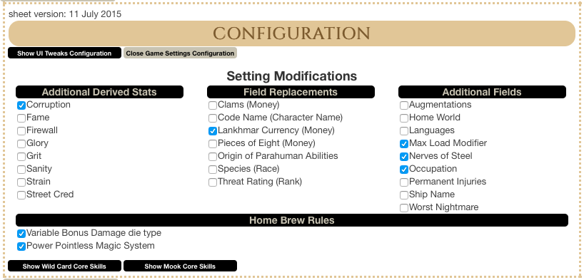 Snapshot of the Game Settings Configuration Window